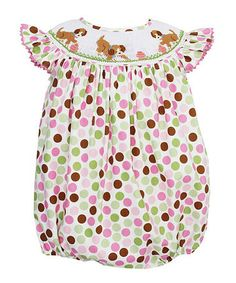 Look at this #zulilyfind! Pink Polka Dot Playing Puppies Smocked Bubble Romper - Infant #zulilyfinds