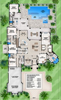 San Mateo-This Mediterranean 6 bedroom house plan features great room, island kitchen, private master suite, den & lanai w/outdoor kitchen. Luxury House Plans, Best House Plans, Dream House Plans, Large House Plans, Luxury Floor Plans, Garage Floor Plans, House Floor Plans, 6 Bedroom House Plans, 4 Bedroom House Designs