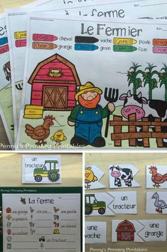 French Farm Write the Room-la ferme Teaching Materials, Teaching Tools, Teacher Resources, French Pictures, Word Pictures, French Tenses, French Verbs, French Adjectives, French Worksheets