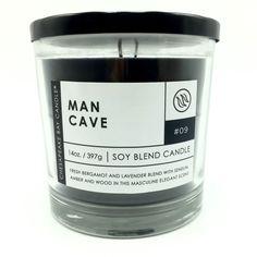 Chesapeake Bay Man Cave Soy Blend Scented Candle Bergamot Lavender Amber Wood #ChesapeakeBay
