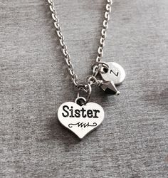 CUSTOM NECKLACE, GIFT Silver Plated, Sister Heart necklace, Sister gift, Crystal Heart, Sister Jewelry, Personalized Necklace, Initial Charm by SAjolie, $18.50 USD