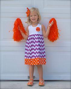 CLEMSON TANK DRESS  in purple chevron & orange polka dot fabrics - many sizes on Etsy, $34.00