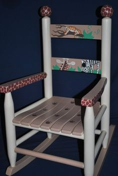 Childrens Rocking Chair  In The Jungle  hand painted by onmyown14 on Etsy