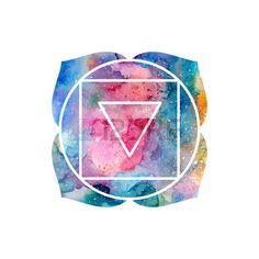 Chakra Muladhara or root chakra icon, ayurvedic symbol, concept of Hinduism, Buddhism. Watercolor cosmic texture. Vector isolated on white background Vector