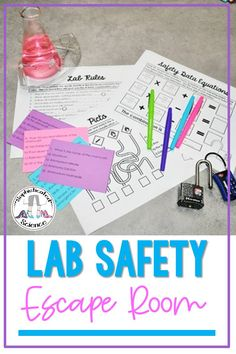 Are you getting ready for back to school and looking for fun and engaging activities to teach lab safety skills in your middle or high school science class? This print-and-go lab safety escape room activity teaches lab safety rules, hazard scenarios, lab safety equipment, hazard pictogram symbols (WHMIS/HAZCOM/GHS), product  labels, and safety data sheets. These eight escape room challenges can be implemented in a variety of ways, and are the perfect addition to your science lesson plan. Science Lesson Plans, Science Resources, Science Lessons, Activities, Lab Safety Rules, Science Lab Safety, High School Classroom, High School Science, Hazard Communication