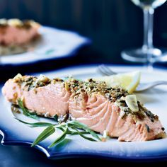 Slow-Roasted Salmon with Tarragon and Citrus Top Chef Masters winner Floyd Cardoz reveals his secrets to slow-roasting salmon with Provencal flavors like garlic, shallots, citrus, thyme and fennel. Citrus Recipes, Chef Recipes, Salmon Recipes, Seafood Recipes, Wine Recipes, Great Recipes, Cooking Recipes, Healthy Recipes, Kosher Recipes