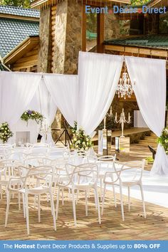 Event Decor Direct's Sheer Voile Fabrics are perfect for event designers that require premium backdrops and ceiling drapes for all their events! Can be used for church auditoriums, graduation ceremonies, speeches, weddings, and many more. Available in a wide variety of lengths and colors with Free Shipping options! Shop Now at EventDecorDirect.com Church Wedding Ceremony, Wedding Altars, Outdoor Wedding Backdrops, Wedding Draping, White Wedding Decorations, Event Decor Direct, White Paneling, Wedding Simple, Wedding White