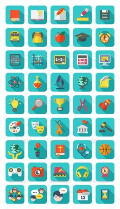 Modern Flat Square Education and Leisure Icons | Buy and Download: http://graphicriver.net/item/modern-flat-square-education-and-leisure-icons/5840928?WT.ac=category_thumb&WT.z_author=vectorikart&ref=ksioks