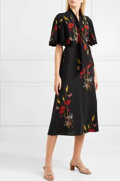 6f9c5977310d Valentino - Tie-neck Floral-print Silk-jersey Wrap Dress - Black. Stampe  FlorealiAbiti ...