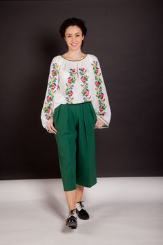 #fashion #style #romania #brand #romanian #motifs #spring #summer #colorful… Ethnic Fashion, Womens Fashion, Embroidered Blouse, Eminem, Folk, Spring Summer, Embroidery, How To Wear, Pants