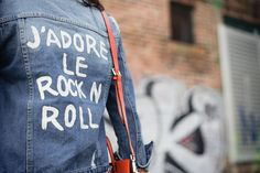 Graffiti monogram or design on jean jacket