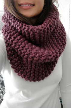 (via Hope Chunky Rib Infinity Cowl Scarf Fig Purple Grape by LuluLuvs) Cowl Scarf, Knit Cowl, Crochet Poncho, Crochet Scarves, Poncho Outfit, Knitting Accessories, Loom Knitting, Unisex, Couture