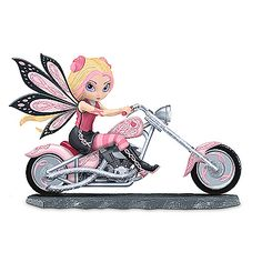 Breast Cancer Support Fairy And Pink Motorcycle Figurine: On A Roll With Hope