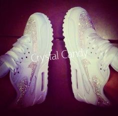 Crystal Nike Air Max 90#39;s in White (fully crystallised) ndash; Crystal Candy Limited