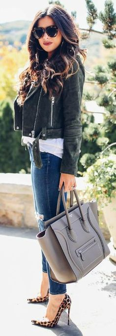 add some flare to your look + statement heels + Emily Gemma + leopard print stilettos + perfect addition + casual outfit + jeans + suede jacket + plain white tee.   Jacket: BlankNYC, Tank: Topshop, Denim: AG Jeans, Pumps: Christian Louboutin, Handbag: Celine.