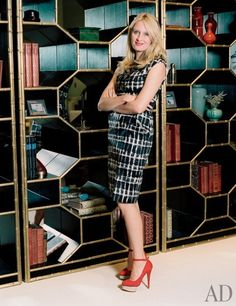 Stylesetting decorator Celerie Kemble's debut home-furnishings designs for Henredon and Maitland-Smith display her distinctive sense of playful elegance Unique Shelves, Display Shelves, Condo Furniture, Furniture Makeover, Round Marble Table, Shelving Design, Shelving Systems, Celerie Kemble, Maitland Smith