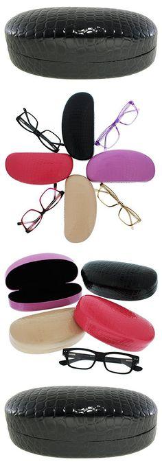 Evolution Eyes Hard Clamshell Sunglass and Eyeglass Fashion Design Case, Fits All Frames, Black Crocodile