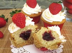 Strawberry Cheesecake Cupcakes {Small Batch - Yield 8} for Valentine's Day
