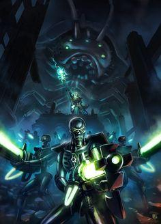 Warhammer 40k Tribute: Necron Warriors and Imotekh by pierreloyvet.deviantart.com
