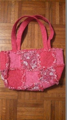 pink patterned rag quilt purse by by Karenskreations2011 on Etsy, $25.00