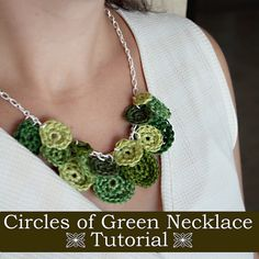 Crochet yourself a Shades of Green Necklace for St. Patrick's Day, and you'll find yourself looking for reasons to wear this DIY necklace all the time! All Free Crochet, Easy Crochet Patterns, Love Crochet, Beautiful Crochet, Bead Crochet, Simple Crochet, Beginner Crochet, Green Necklace, Diy Necklace