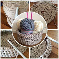 Crochet basket cotton yarn DIY  Pattern from https://www.youtube.com/watch?v=1Oe19lS7_Po
