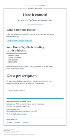 a30909a3e3  warbyparker sent this email with the subject line  Right on track - I love