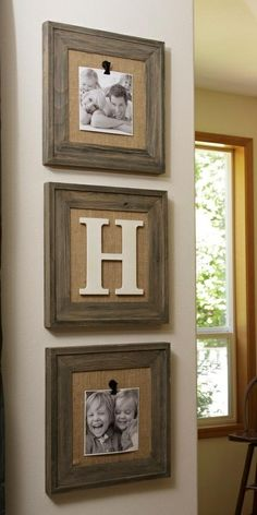 Burlap background and chunky wood frame.  No glass and clips allow you to change the pictures out.