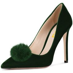 0872935e843 FSJ Women Fashion Stiletto Heels Pointy Toe Pumps Velvet Fluffy Pom...  ( 35) ❤ liked on Polyvore featuring shoes