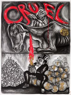 """Sue Coe. Cruel. 2011. Graphite, gouache and oil on white Strathmore Bristol board. Signed and dated, lower right, and titled, upper center. Bear and monkey stamp, lower right. 40"""" x 30"""" (101.6 x 76.2 cm). Reproduced on the cover of Cruel. Copyright © 2011 Sue Coe, Courtesy Galerie St. Etienne, NY."""