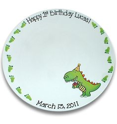 Delightful Dinosaur 's 1st Birthday Signature Platter. $70.00, via Etsy.  © Copyright Serendipity-Crafts. All rights reserved.
