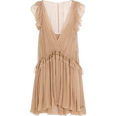Chloé Ruffled silk-chiffon mini dress (€1.515) ❤ liked on Polyvore featuring dresses, blush, short frilly dresses, short dresses, loose dresses, flounce dress and slip on dress