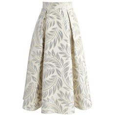 Chicwish Golden Olive Jacquard Midi Skirt (145 BRL) ❤ liked on Polyvore featuring skirts, yellow, olive midi skirt, a-line skirt, yellow skirt, white a line skirt and olive green midi skirt