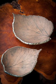 New pottery leaves from Black Cat Pottery, available on Etsy.