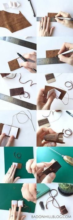 Tutorial: How to Make a Tiny Leather Book Necklace by the Badon Hill Blog - preparing the leather and putting it together