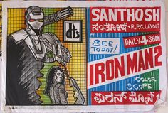 Hand-drawn, Indian movie posters - Iron Man 2