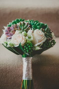 Succulents in a wedding bouquet