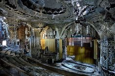 the abandoned interior of Detroit's United Artist Theater. Built in 1928, it has been empty and left to decline in an epically rococco manner since the 1970s...and it's a crying shame that we as a country, who cherish other historic places, would let such a beautiful and historic theater fall to such ruin!
