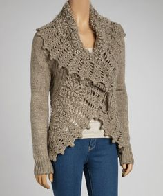 Loving this Oatmeal Wool-Blend Crocheted Open Cardigan on #zulily! #zulilyfinds