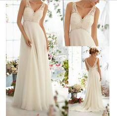 New Chiffon Beach Wedding Dresses prom dresses evening dress V-Neck Wedding Dress Bridal Gown white / ivory wedding dress on Etsy, $129.00