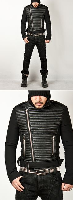 Outerwear :: Futuristic Quilted Leather Accent Rider Jacket - 70 - New and Stylish - Fast Mens Fashion - Mens Clothing - Product