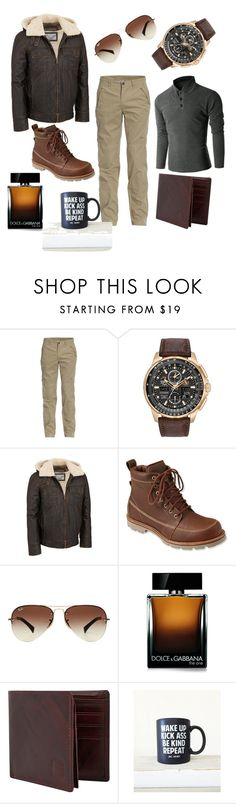 """StReet SmArt"" by shaheenk ❤ liked on Polyvore featuring Doublju, Jeep, Citizen, Wilsons Leather, L.L.Bean, Ray-Ban, Dolce&Gabbana, men's fashion and menswear"