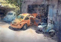 """""""VW repair shop 2"""" (watercolor, 36x50 cm)"""