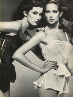 "Vogue US March 1977  ""Lingerie Report: The New Un-Dressing""  Models: Yasmine Sokal and Shelley Smith  ph: Bob Richardson"