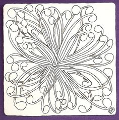 Zentangle Patterns For Beginners | F01b Zentangle Tile by Debora Rohly CZT
