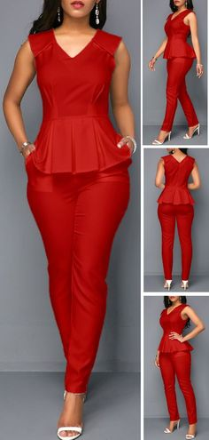 Make a fashion statement in this jumpsuit! It features V Neck, Peplum Waist ,Sleeveless design. Pair this jumpsuit with platform heels for the ultimate look. Classy Work Outfits, Classy Dress, Chic Outfits, Dress Outfits, Casual Dresses, Fashion Outfits, Fashion Ideas, Women's Fashion, Latest African Fashion Dresses