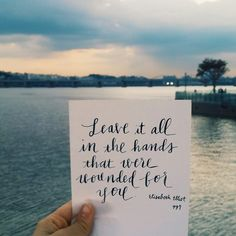 "Bible Verse Of The Day: Elizabeth Elliot quote ""Leave it all in the Hands that were wounded for you"" Absolutely! Bible Verses Quotes, Me Quotes, Bible Scriptures, Faith Quotes, Cool Words, Wise Words, I Look To You, Encouragement, In Christ Alone"