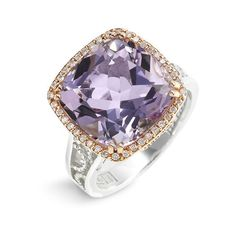 Tacori 'Color Medley' Diamond Edge Rose Amethyst Ring (£1,175) ❤ liked on Polyvore featuring jewelry, rings, women, handcrafted rings, diamond jewelry, 18k ring, cushion cut amethyst ring and 18 karat gold ring