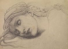 The Briar Rose Series - Study of a Sleeping Maiden for 'The Garden Court' - Autotype of a black crayon drawing on grey toned paper - Sir Edward Burne-Jones, Frederick Hollyer - c. Life Drawing, Figure Drawing, Drawing Sketches, Painting & Drawing, Crayon Drawings, Art Drawings, Black Crayon, Edward Burne Jones, Pre Raphaelite