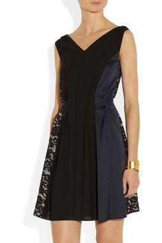 Nina Ricci|Lace and charmeuse-paneled crepe dress|NET-A-PORTER.COM